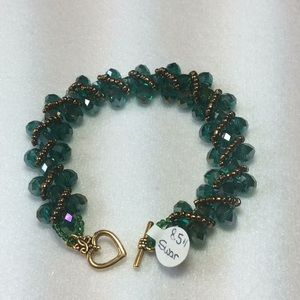 Teal/Bronze HM Swarovski Bracelet w/GP Findings